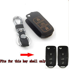 3BTNS Leather Flip Remote Key Chain Holder Cover Case Bag For VW Passat Tiguan