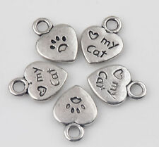 30 Tibetan Silver Heart Cat Loose Spacer Bead Charm Jewelry Finding 12x9mm DIY