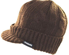 Cuglog Sweater Beanie Solid Warm Visor Jeep Knit Winter Ski Skull Cap Hat-brown
