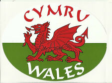 Cymru Wales Welsh Red Dragon Flag Oval External Car Bumper Sticker Decal