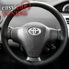 FOR TOYOTA YARIS 99-05 BLACK REAL GENUINE LEATHER STEERING WHEEL COVER