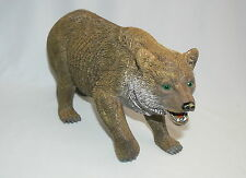 "Brown Grizzly Bear Figurine 6"" X 10"" Green Eyes Wild Animal"