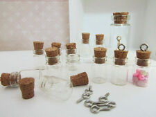 "12 Miniature Message Glass Bottle 1"" Charm Sand Container/Cork/Beading K78-Mini"