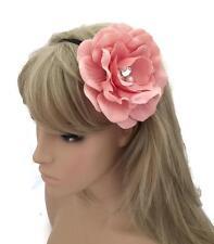 GRANDE fiore rosa pallido esponi Front Bandeau Kylie Fascia Per Capelli Con Cristalli & Perle