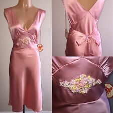 M Shiny SILK Stretch LIQUID SATIN Vtg DRESS Embroidered Slip Gown Pink Coral