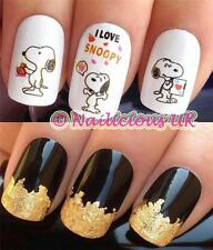 NAIL ART SET #488. SNOOPY FIGURE PIC WATER TRANSFERS/DECALS/STICKERS & GOLD LEAF