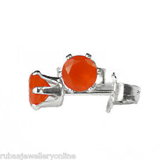 4mm FACETED ROUND GENUINE AAA ORANGE CARNELIAN 925 STERLING SILVER STUD EARRINGS
