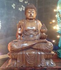 "HUGE Antique Chinese Carved Wood  Buddha 23"" Lotus Flower Excellent!! Statue"
