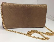 Manolo Blahnik Gold Lizard Skin Clutch Gold Chain