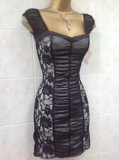 Jane Norman Sexy Black Cream Lace Mesh Gypsy Corset Bodycon Party Dress Size 10