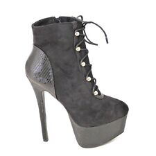 WOMENS LADIES FAUX SUEDE LACE UP PLATFORM HIGH HEEL ANKLE BOOT ZIP LEOPARD SIZE