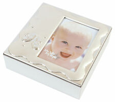 Silver Plated Baby Photo Trinket Keepsake Box Memory Christening Gift Present
