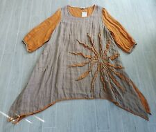 NWTs Cheyenne Tan Orange Linen Art To Wear Lagenlook Oversized Drapey Tunic 3X