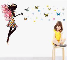 Fata Dei Fiori Girl Farfalle Adesivo Da Parete PVC Decalcomania Bambini