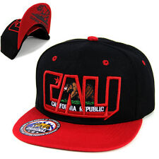California Republic hat cap CALI Bear Snapback Baseball cap Flat Bill -Black/Red