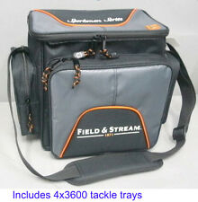 Field & Stream Soft Sided Fishing Tackle Carry Bag w 4 large Storage Boxes
