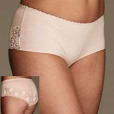 M&S FAWN KNICKERS PANTIES WITH LACE EDGE SIZE 14