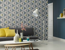 Feature Wallpaper 3D Flower Geometric Funky Modern Grey Teal Olive Mink Retro