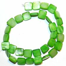 MP1087L Bright Green 12mm Flat Square Mother of Pearl Shell Beads 16""