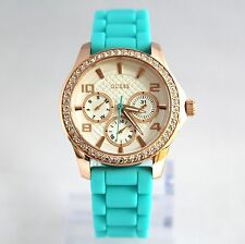 NEW Guess W0588L2 Rose Gold Crystal Bezal Dial Turquoise Band Women Watch