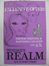 VINTAGE PROMOTIONAL ADVERTISING for PERFUME (1960s) - WOMAN'S REALM MAGAZINE