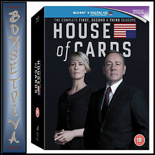 HOUSE OF CARDS - COMPLETE SEASONS 1 2 & 3  *BRAND NEW  BLU-RAY BOXSET***
