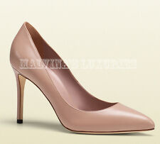 $635 GUCCI SHOES BROOKE HIGH HEEL POINT TOE PUMP NUDE LEATHER sz IT 40 US 10