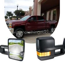 Pair HD Design Power Heated Signal Tow Towing Mirrors For 03-06 Chevy Silverado