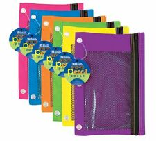 6 pc set  BRIGHT COLOR 3-Ring Pencil Pouch with Mesh Window FREE shipping to USA