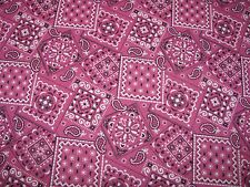 BANDANA COWBOY PATCH PAISLEY BUBBLEGUM PINK on COTTON FABRIC Priced By The Yard
