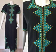Vtg 70s EMBROIDERED Ethnic Moroccan Caftan Maxi Dress Lounge Robe Zip Hostess