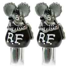 Gray Rat Fink Door Lock Knobs Pair Mooneyes Moon Rod Hot Chevy Ford GM Mopar