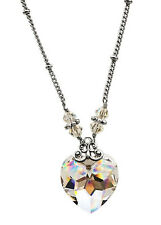 Swarovski Elements Clear Heart Crystal Pendant Necklace