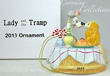 2013 Grolier Lady and the Tramp Annual Disney Ornament Porcelain & Dated NIB HTF