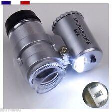 Mini Microscope 45x de poche avec pochette et éclairage led zoom loupe magnifier