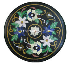 "16"" Black Marble Coffee End Table Top Mosaic Inlay Semi Precious Outdoor Decor"