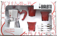 Gift Set Red Passio Bialetti Moka Express 3 Cups stove top coffee espresso maker