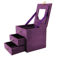 Purple Jewelry Storage Organizer Box Case for Ring Necklace +Mirror Lady New