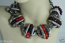 MODERN CHUNKY RED,PURPLE,SILVER METAL PLASTIC FACETED GLASS LINK NECKLACE