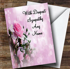 Pale Pretty Pink Rose Personalised Sympathy / Sorry For Your Loss Greetings Card