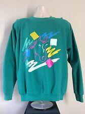 Vtg 1990 Neon Horse Sweatshirt Green L 90s Raglan Crewneck Pony Hanes