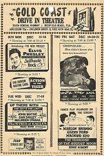 "ELVIS PRESLEY DRIVE-IN THEATRE UPCOMING ATTRACTIONS HANDOUT ""JAILHOUSE ROCK"" ++"