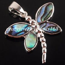 New Zealand Abalone Shell Dragonfly 28x28mm Beads Pendant Jewelry Charm N2157