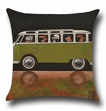 """Dog VW Camper Van 17"""" Square Cushion Cover Pillow Case Home Lounge Decor Gift"""