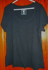 DEREK HEART WOMAN'S BLACK SHORT SLEEVED TOP SIZE 2X