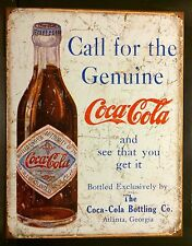Call For The Genuine Coca Cola TIN SIGN metal Bottle Decor Coke Vtg