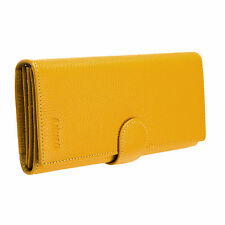 Safe RFID Wallet for Women Genuine Leather Trifold With Coin Pocket Yellow