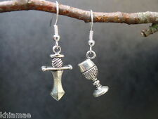 Wiccan Altar Tools Earrings hooks silver plated wicca pagan athame chalice