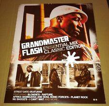GRANDMASTER FLASH CARDSTOCK 2002 Retail PROMO POSTER Essential Mix CD 18x24 USA