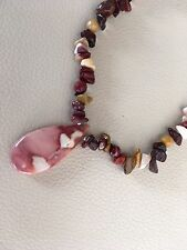 "18"" Natural Australian Mookite/Mookaite Pendant Necklace Sterling Silver Clasp"